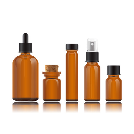 Vector realistic set bottles for essential oils, cosmetic products. Glass vials on reflective surface. Dropper bottle, vial with bamboo cover, flask, spray bottle, jar. Mockup on white background.