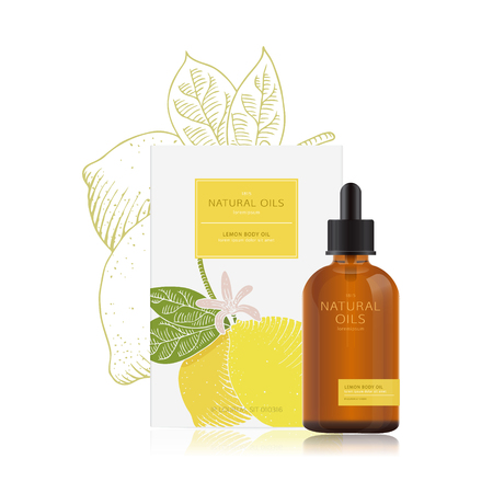 Lemon oil. Packaging design of natural oils with lemon. Vector mockup for a bottle of essential oil and packing box. Natural organic cosmetics with illustration of lemon in woodcut style. Easy edit.