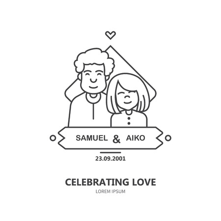 Celebrating love. Linear template with interethnic couple and simple data in linear flat style. Isolated on white background and easy editing. Family event. Intermarriage.