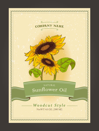 Vintage organic labels for sunflower oils. Vector harvest template in woodcut style.