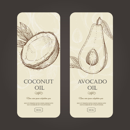 Vector template labels for coconut and avocado oils in woodcut style. Easy editable. Simple data. Perfectly for packaging design.