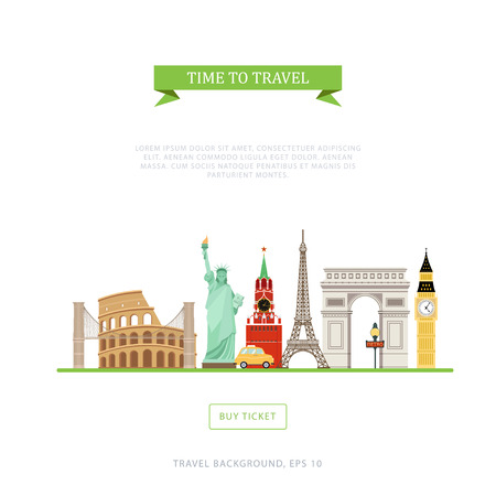 Vector banner of travel tours with illustrations of monuments of Europe in the flat style. Simple template with place for your text. Perfect for web banners, poster, advertising design.