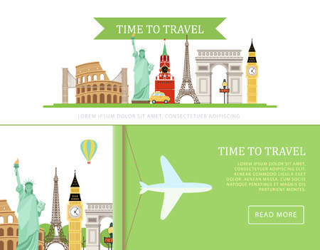 Vector template of advertising banners with monuments of Europe in the flat style. Simple concept with place for your text. Perfect for web banners, poster, advertising design.
