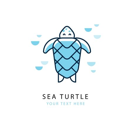 Vector concept of with turtle in a linear style. Template suitable for emblem of sea cruise, travel company, diving, dolphinarium, oceanarium.