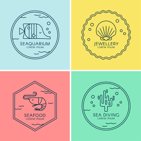 Nautical set of with sea creatures in linear style. Vector illustrations perfect for seafood restaurant, jewelry shop, diving, oceanarium. Çizim