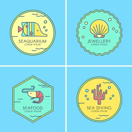 Marine set of colorful with sea creatures. Vector illustrations perfect for a seafood restaurant, jewelry shop, diving, seaquarium. Çizim