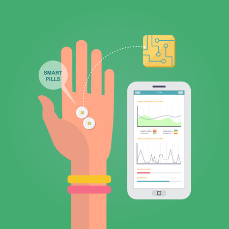 Vector concept about smart pills with a hand, a smartphone and app of statistical data. Infographics of innovations in medicine. Flat design graphic. Medical illustration.