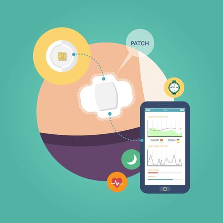 Visual infographics about the process of work of smart pills, patch on the body and the application on the phone. The concept of innovations in medicine. Flat design graphic. Medical illustration.