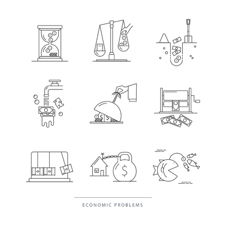 Vector set of economic icons with popular economy problems: taxes, offshore, debt hole, inflation, crediting, corruption. Linear flat style. Perfect for news website, banners, presentation, brochure.