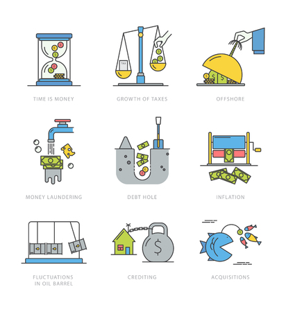 Linear style collection of economic icons with popular economy problems and situations. Colorful vector isolated on a white background. Perfect for a news website, banners, presentation, brochure.