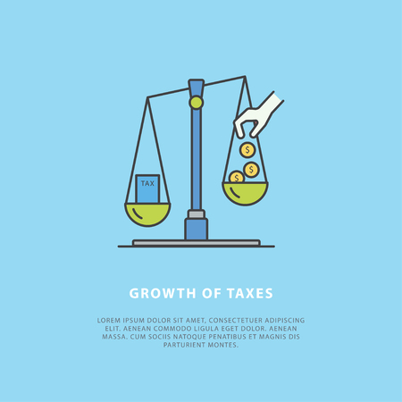 Colorful vector news concept about the growth of taxes. Simple design template with place for your text. Flat style. Perfect for a news website, banners, presentation, brochure. Çizim