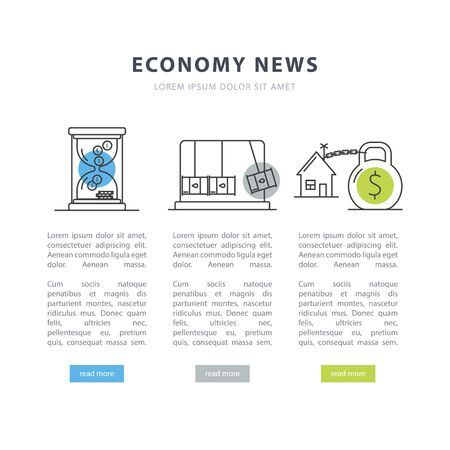Simple design templates for economy news. A vector concept made in modern line style with place for your text. Perfect for a news website, presentation, brochure. Easy editing. Çizim