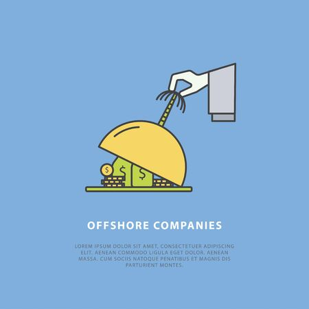 Vector news concept about offshore companies. Simple design templates with place for your text. Easy editing. Flat style. Perfect for a news website, banners, presentation, brochure. Çizim