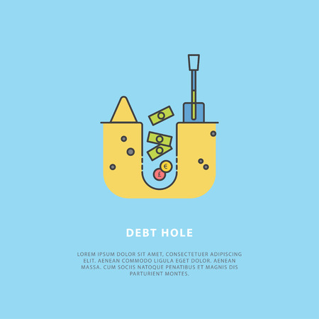 Vector illustration in the flat style about debt hole. Perfect for a news website, banners, presentation, brochure. Simple design templates with place for your text. Easy editing. Flat style. Çizim