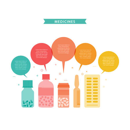 Medicines. Vector illustration with different drugs, doctors stuff in flat style. Colorful concept with place for your text easily editable. Perfect for sites, flyers, banners with medicine themes.