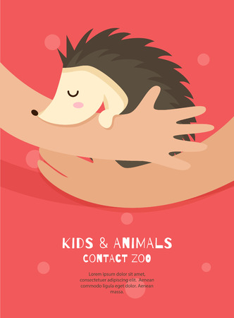 Vector flyer of contact zoo in the flat style. Cute hedgehog in the girl hands. Care of animals. Colorful concept perfect for web design, banners, advertising.
