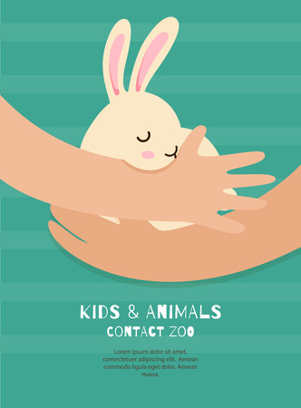 Vector flyer of contact zoo in the flat style. Small white rabbit in the boy hands. Care of animals. Colorful concept perfect for web design, banners, advertising.