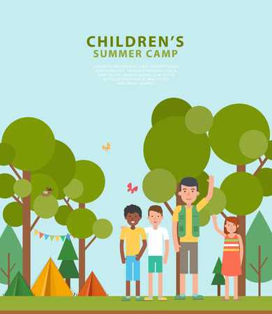 Vector illustration of summer childrens camping in the flat style. Template of flyers with tent, forest, childrens and scout with place for text. Perfect for banners, poster or promotion design. Çizim