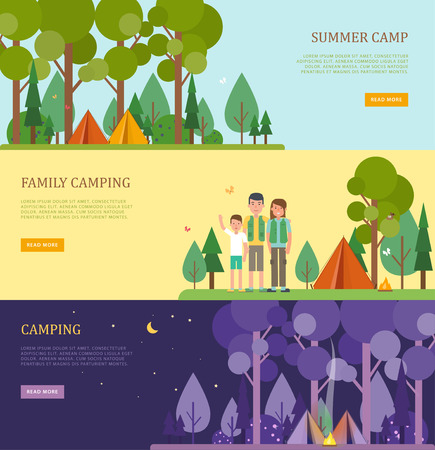 Set of tourist banners for summer and family camping. Flat style. Vector template with camping scenes with place for text. Night landscape. Perfect for website banners and promotional materials.