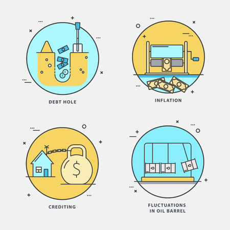 Linear set of economic icons with popular problems: debt hole, inflation, crediting, fluctuations on oil barrel. Vector flat style perfect for news, mass media and websites.