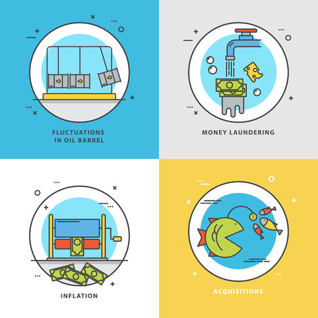 Vector set of economic icons with popular problems: fluctuations on oil barrel, money laundering, inflation, acquisitions. Colorful flat style perfect for news, mass media and websites.