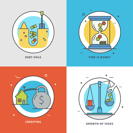 Vector set of economic icons with popular problems and phrasing: debt hole, time is money, crediting, growth of taxes. Colorful flat style perfect for news, mass media and websites.