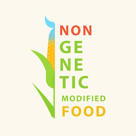 Non GMO food. Vector poster with hybrid of corn, fish and typography elements. Genetic engineering. Perfect for website banners and promotional materials. Çizim