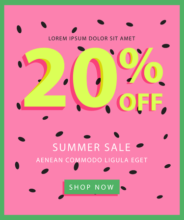 Summer sale banner with watermelon background, simple text and button. Easy editing. Colorful concept perfect for web design, banners, advertising.