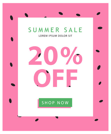 Colorful summer sale banner with watermelon background, simple text and button. Easy editing. Vector concept perfect for web design, banners, advertising.