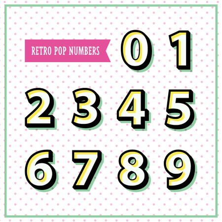 Vector alphabet numbers in retro style. Pop art objects on the polka dot background perfect for flyer, poster design.