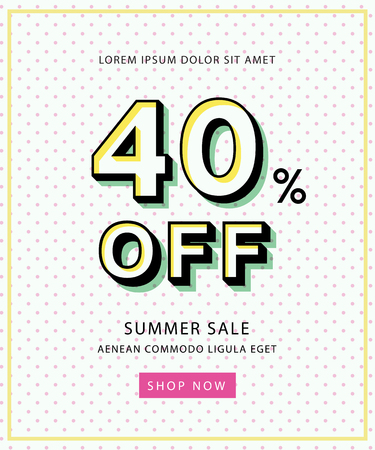 Vector sale banner in retro style with polka dot background, simple text and button. Easy editing. Concept perfect for web design, banners, advertising. Çizim