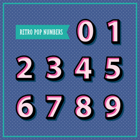 Set of 3d numbers in retro style. Pop art objects on the polka dot background perfect for flyer, poster design. Vector illustration.