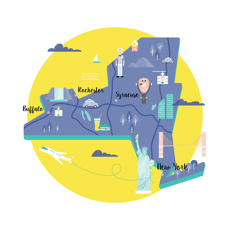 Vector map of New York in retro style with landmarks: the Statue of Liberty, Brooklyn bridge, yellow lights, telescope of Top the Rock. Colorful scene in the circle on white background.
