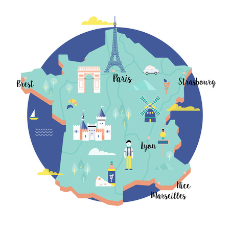 Vector map of France in retro style with landmarks: the Eiffel tower, the metro, the arc de Triomphe. Colorful scene in the circle on white background.