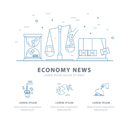 Simple design templates for economy news. A vector concept made in modern line style with place for your text. Perfect for a website, presentation, brochure. Easy editing. Çizim