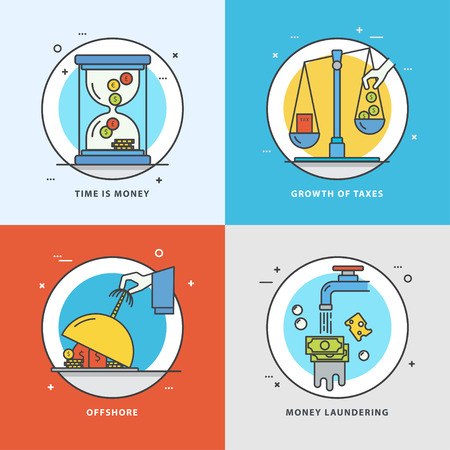 Vector set of economic icons with popular problems and phrasing: time is money, growth of taxes, offshore, money laundering. Colorful flat style perfect for news, mass media and websites. Çizim