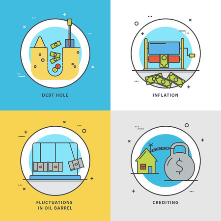 Vector set of economic icons with popular problems: debt hole, inflation, crediting, fluctuations on oil barrel. Colorful flat style perfect for news, mass media and websites.