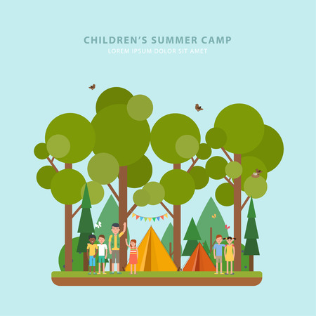 Colorful concept of summer childrens camping. Vector template of flyers with tent, forest, childrens and scout in flat style. Perfect for flyer, poster or promotion design. Çizim