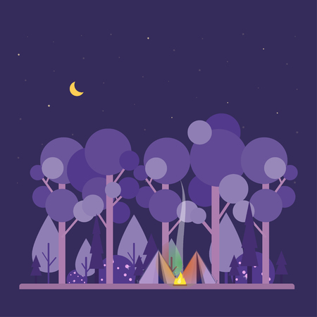 Colorful vector concept with night camping scene. Night landscape with tent, forest, fire, sparks, starry sky. Flat style. Design illustration. Perfect for website banners, flyer, poster.