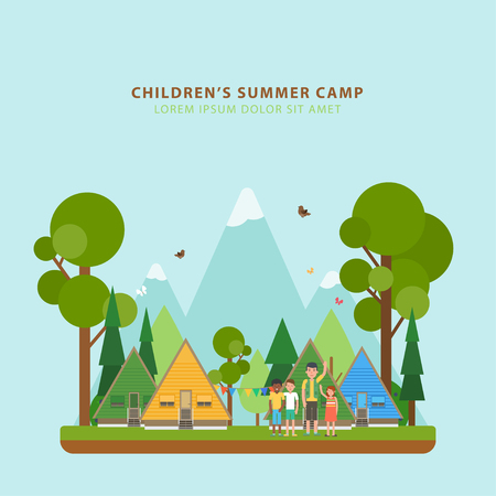 Summer childrens camping. Vector template of flyers with camping territory: houses, mountains, forest, children, scout in flat style. Colorful concept perfect for flyer, poster or promotion design. Çizim