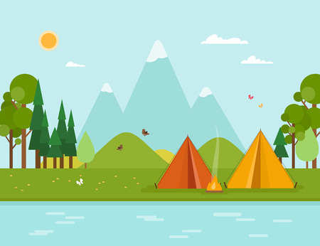 Colorful concept with summer camping. Vector illustration with tent, mountains, forest, fire, river in flat style. Perfect for flyer, poster or promotion design.