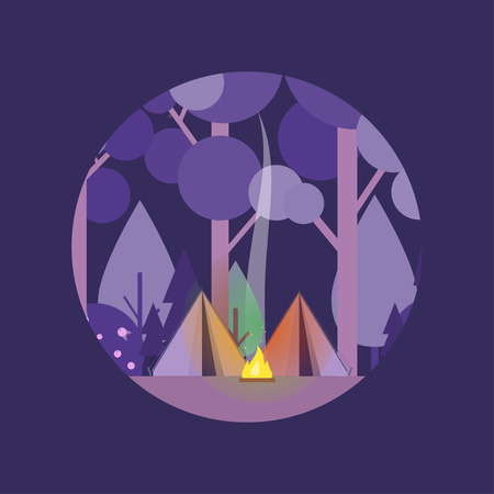 Night landscape with tent, forest, fire, sparks, starry sky. Concept with night camping scene. Vector scene in the circle on white background. Flat style. Perfect for website banners, flyer, poster. Çizim