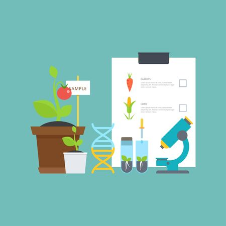 Simple botanical concept with vials, seedlings, plants, a microscope, a DNA molecule. Breeding and agriculture. Perfect for agricultural or scientific brochures, infographic, other materials.