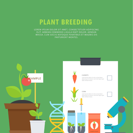 Plant breeding. Botanical concept with vials, seedlings, plants, a microscope, a DNA molecule and place for your text. Perfect for agricultural or scientific brochures, infographic, other materials.