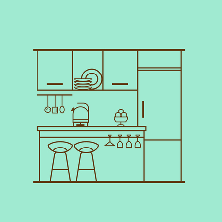Vector concept of modern kitchen with fridge, utensils, furniture, interior decor. Kitchen interior design made of thin line. Linear flat style. Perfect for website banners and promotional materials. Çizim