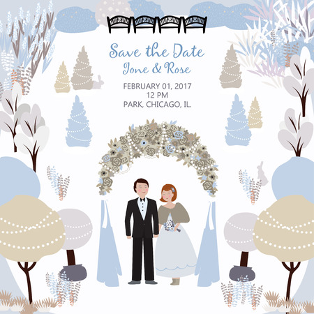 Save the date. Wedding card with a couple in the winter garden and arch. Vector background with a place for your text. Template easily editable. Çizim