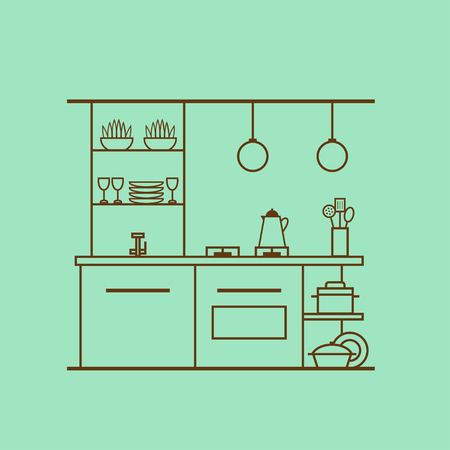 Kitchen interior design made of thin line. Concept of modern kitchen with utensils, furniture and interior decor. Linear flat style. Perfect for website banners and promotional materials. Vectores