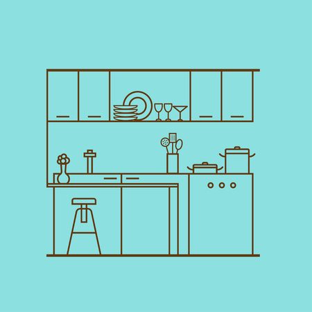 Kitchen interior design. Vector concept of modern kitchen with cooking utensils, furniture, interior decor made of thin line. Linear flat style. Perfect for website banners and promotional materials.