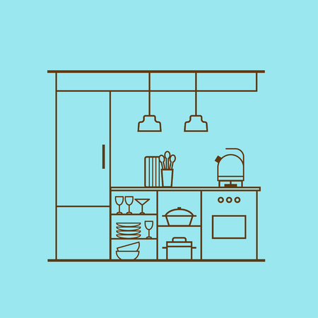 Vector kitchen interior design made of thin line. Linear concept of modern kitchen with cooking utensils, furniture, interior decor. Flat style. Perfect for website banners and promotional materials. Vectores