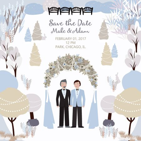 Wedding card with a gay couple in the winter garden and arch. Save the date. Vector background with a place for your text. Template easily editable.